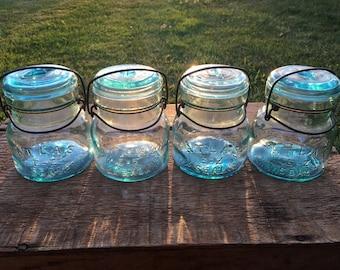 Set of 4 Vintage Atlas E-Z Seal Blue Glass Pint Fruit Canning Jars