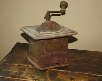 Antique Primitive Wood & Tin Coffee Grinder; Vintage Metal ELMA Coffee Mill in Old Paint, Country, Rustic, Kitchen Decor