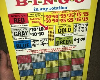 Vintage BINGO 25 Cent Punch Board; NOS Warehouse Find; Never Used Old Stock Gambling Punchboard