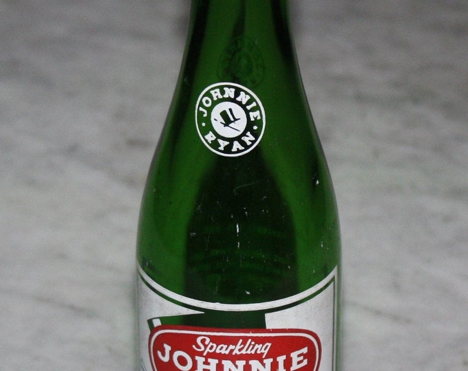 Vintage Johnnie Ryan Soda Pop Bottle; Green Glass, Painted Label