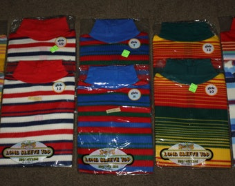 NOS Vintage 1970s Girls Clothing! Lot of 10 Disco Era Long Sleeve Tops, Show-Ups Brand 100% Nylon in Original Packaging! Great Colors!