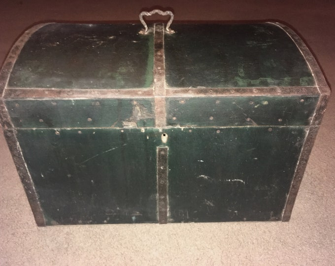 Small Antique Wooden Hump Back Chest in Old Green Chest