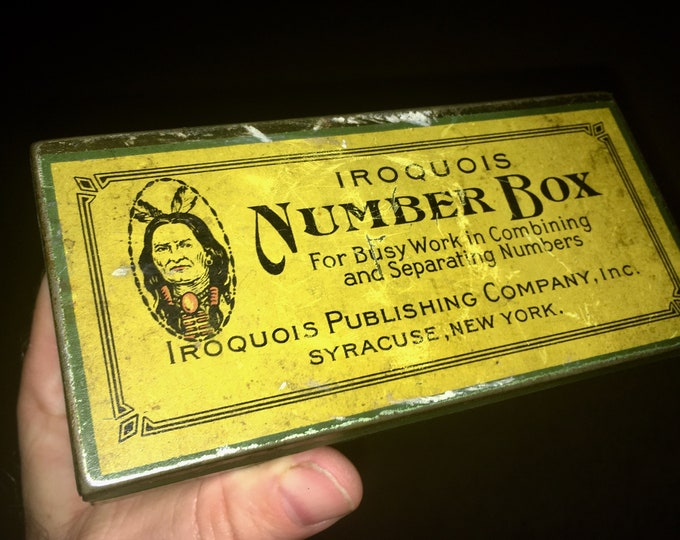 Antique Tin: Iroquois Number Box; Native American Indian Metal Box; Syracuse NY