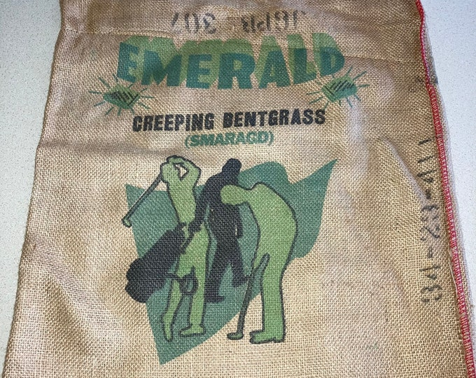 Vintage Golf Course Grass Seed Burlap Sack; Emerald Creeping Bentgrass, 25 Pound Bag with Great Golfing Graphics
