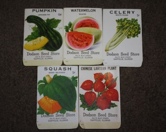 Lot of 5 Vintage Seed Packets: Dodson Seed Store, Danville, Illinois; Rare Old Colorful Packs