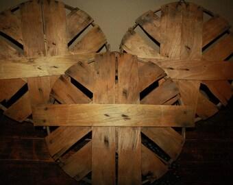 Antique Wooden Bushel Basket Covers; Old Primitive Split Wood Apple Orchid Basket Lids