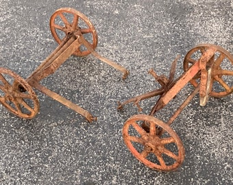 Antique Set of Four Iron Spoked Toy Wagon Wheels with Chassis Suspension Parts