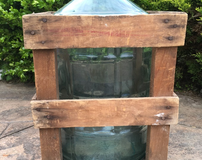 Large 5 Gallon Blue Glass Bottle with Crate, Carboy, Demijohn