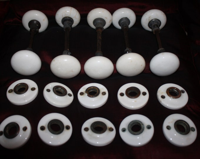 Set of 5 Pairs of White Porcelain Door Knobs with Matching Escutcheons!