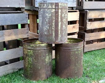 Large Vintage Rusty Tin Cans; great reuse potential! Light Fixture, Waste Bucket, Planter