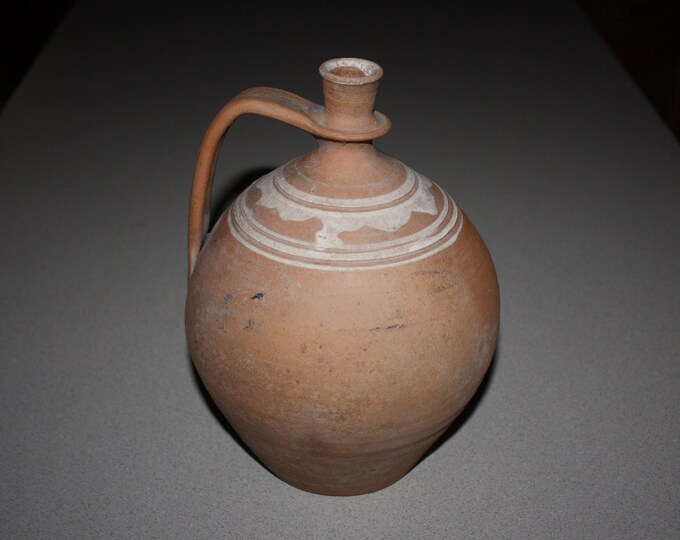 19th Century Ovoid Redware Jug; Antique Slip Decorated Folk Pottery