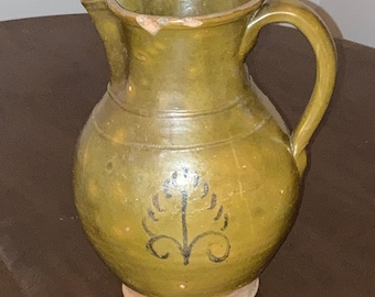 Antique Country Primitive Folk Pottery Mottled Redware Pitcher, 19th Century, with Decorations