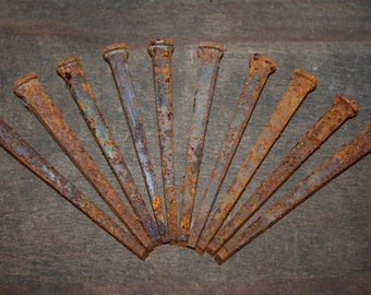 "Lot of 10 Forged Iron Square Nails, Large 4"" Size!"