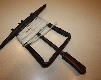 Antique Bentwood Handheld Yarn Winder; Primitive Carved Wooden Whirligig
