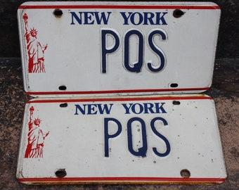Original Vintage New York Liberty Vanity License Plates: PQS