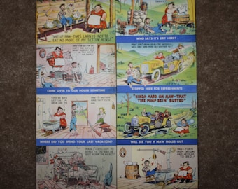 Vintage 1940s Hillbilly Humor Postcards: Luther Jakie Irby, Artist; Bursheen-Finish Linen, NOS Unused Unsold Store Stock; Set of 8!