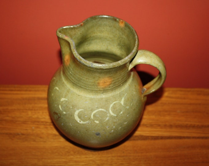 Antique Country Primitive Folk Pottery Mottled Redware Pitcher 19th Century with Slip Decoration