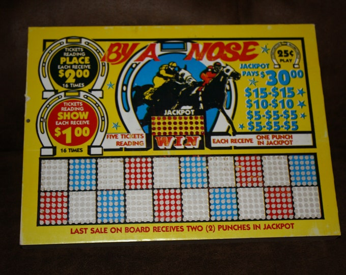 Vintage 1940s BY A NOSE  25 Cent Punch Board; Horse Racing Theme; NOS Warehouse Find; Never Used Old Stock Gambling Punchboard