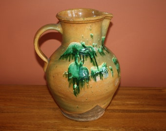 Antique Country Primitive Redware Pottery Pitcher; 19th Century, Slip & Oxide Decorated Ovoid Jug