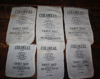Lot of 6 Vintage Cotton Salt Sacks: Colonial Brand Table Salt; Old Advertising Muslin Bags