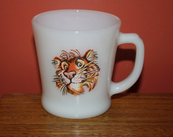 Original 1960's ESSO EXXON Gas Station Promotional Mug; Vintage Fire King D Handle Tiger Logo