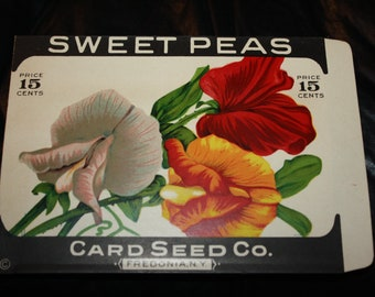 Vintage Litho. Flower Seed Packet: SWEET PEAS; Card Seed Co. Fredonia, NY; Old Stock, Never Used! Ac