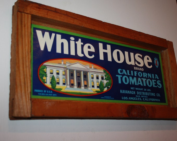 Antique Wooden Tomato Crate Sign! Original Old White House Brand Label on Crate End!