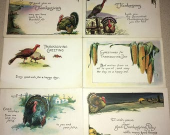6 NOS Vintage Thanksgiving Postcards, Old Store Stock, Never Used Greeting Post Cards