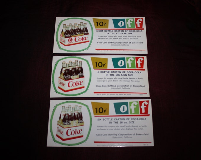 Group of 3 Different Vintage 1950s Coca Cola 10 Cents off Coupons; Original Coke Advertising; Warehouse Find