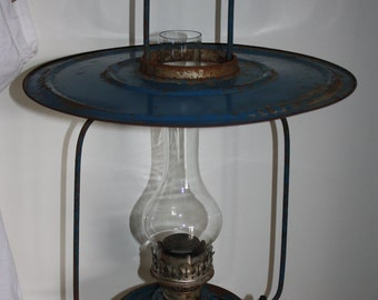 Antique Hanging Metal Oil Kerosene Shop Lamp in Old Blue Paint