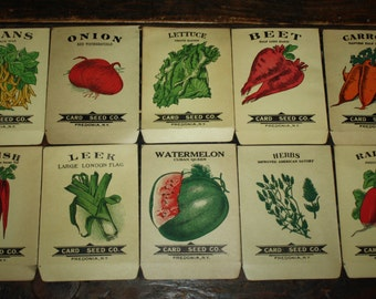 Set of 10 Vintage 1920s Lithograph Vegetable Seed Packets;  Card Seed Co., Fredonia NY; NOS Authentic Old Stock
