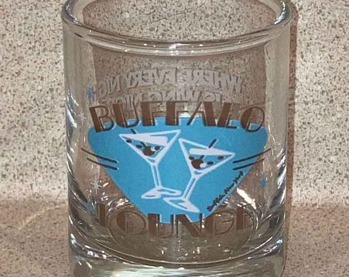 Vintage 1980s Advertising Shot Glass: Buffalo Lounge, Buffalo NY. Old Stock, NOS, Never Used Bar Collectible