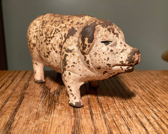 Antique Cast Iron Piggy Bank; Old Iron Toy Pig Coin Bank