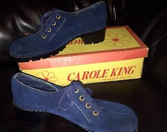 Vintage 1970s Blue Suede Oxford Shoes, Never Worn Size 6M, Carole King Disco Hippie Deadstock
