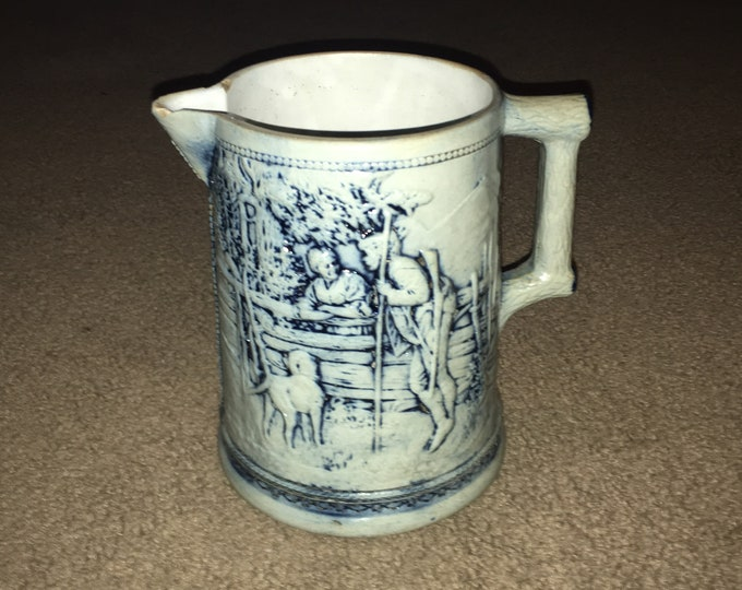 Antique 19th Century Cobalt Decorated Relief Portrait Stoneware Pitcher