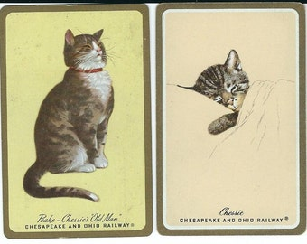 2 Vintage Chesapeake and Ohio Railway Playing Swap Cards featuring Chessie & Peake Railroad Cats Mascot Kitty Logos 1940s