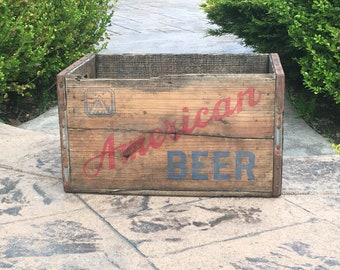 Vintage Wooden AMERICAN BEER Bottle Carrier Crate, American Brewing, Baltimore, Maryland