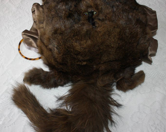 Early 1900s Edwardian Fox Fur Hand Muff with Face, Tail, Legs; Vintage Hand Warmer; Antique Women's Fashions