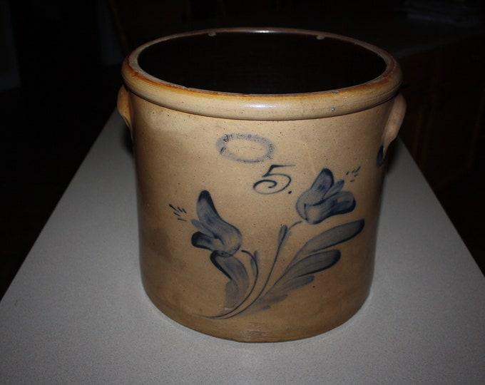 Exceptional Salt Glaze Cobalt Decorated 5 Gallon Crock; J Fisher Lyons, NY