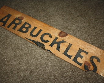 Antique Arbuckles Roasted Coffee Wooden Crate Advertising Side Panel