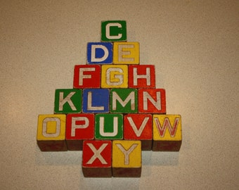 Lot of 17 Different Antique Wooden Toy Blocks; Vintage 1950s ABC's, Disney, Animals, Numbers