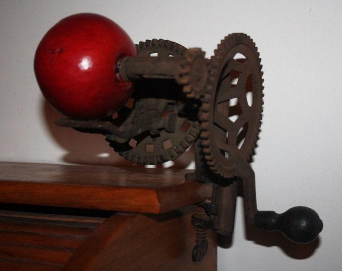 Antique Cast Iron C.E. Mechanical Apple Peeler, Mfg. by Charles E. Hudson, Leominster, Mass., 19th Century, Working!