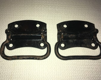 Antique Iron Hardware! Pair of Handles for Trunk, Wooden Tool Chest, Drawers; Reuse, Upcycle