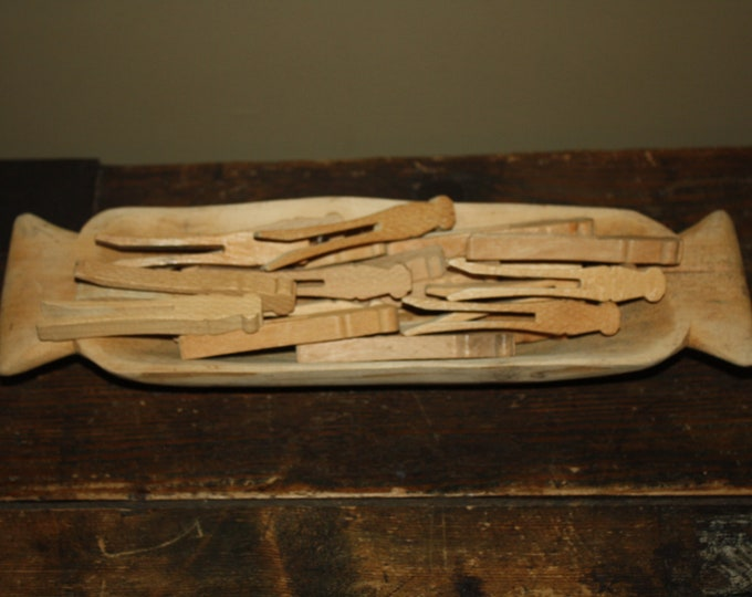 20 Vintage Flat Wooden Clothes Pins in Hand Carved Wooden Bowl