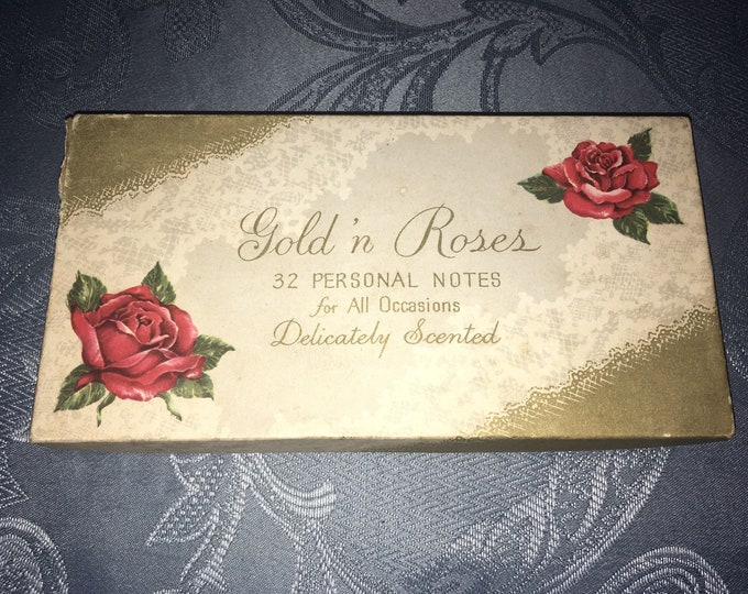 Box of 28 Vintage Personal Note Greeting Cards; Unused Gold 'n Roses All Occasion Cards