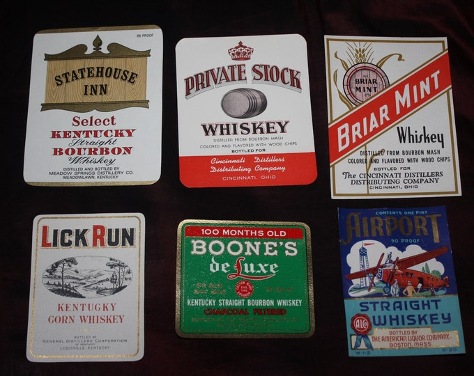 Lot of 6 Different Vintage Whiskey Bottle Labels