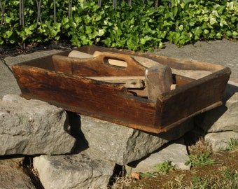 Antique Country Primitive Wooden Tool Caddy; Old, As Found, Rustic, Carrier