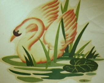 2 Vintage Meyercord Swan Decals: 1930s Colorful Kwik Way Transfers