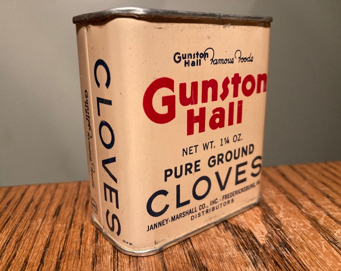 Vintage 1950s Spice Tin: Gunston Hall CLOVES 1.25 oz, Old Stock, Never Used, Great Colors! Full Contents