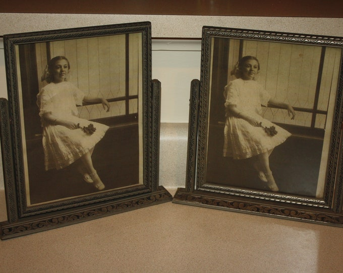 Pair of Matching Antique Art Deco Wooden Swivel Picture Frames; Carved Detail, Silver